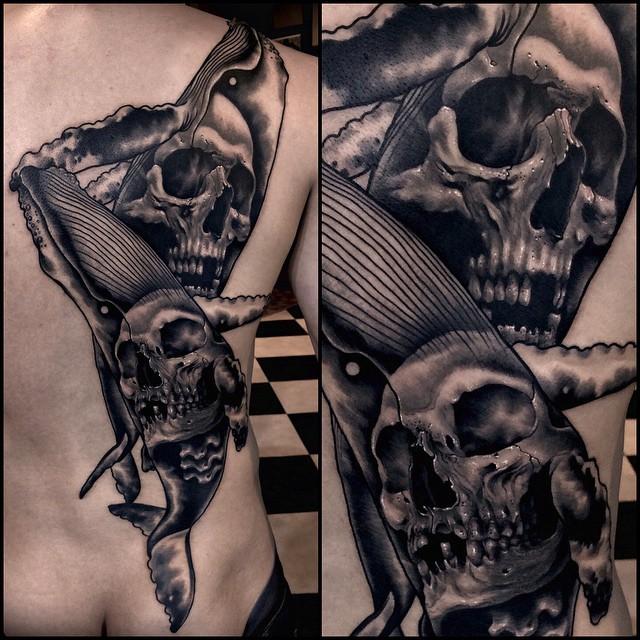 Whale Skulls Tattoo on Back