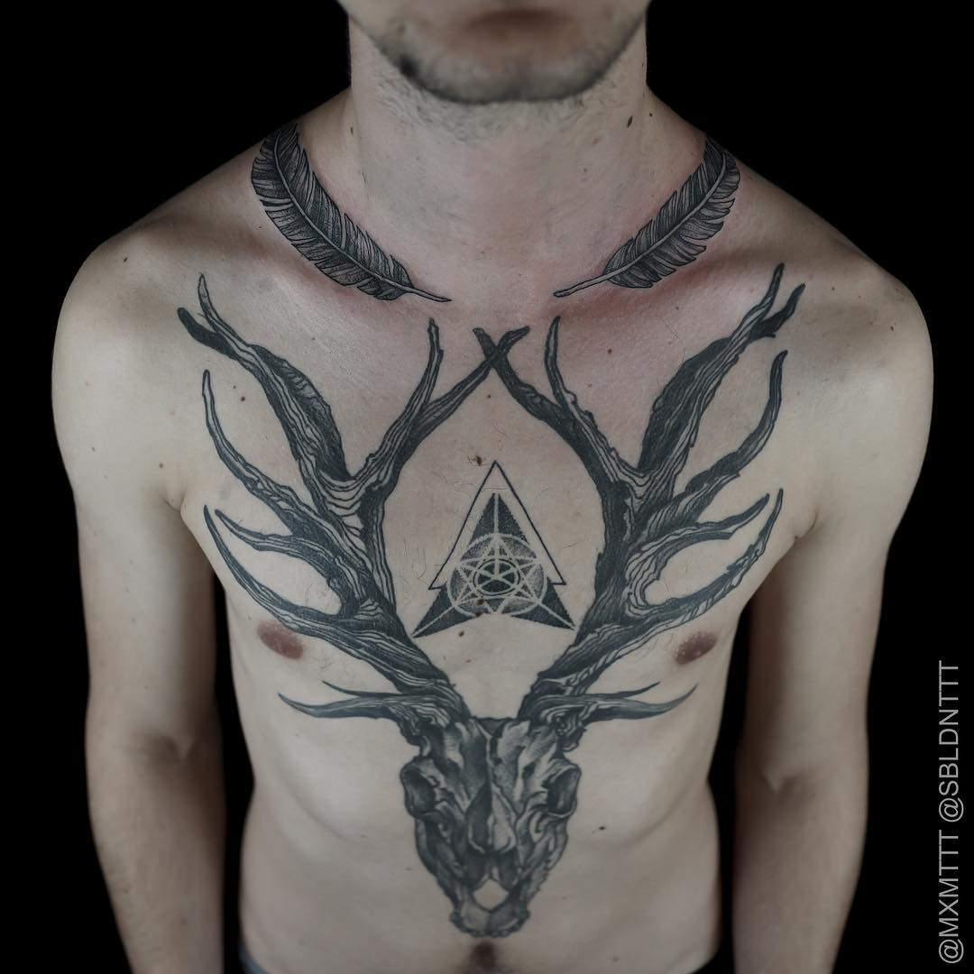 Amazing Graphic Antlers Body Tattoo