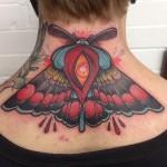 Back of Neck Moth Tattoo