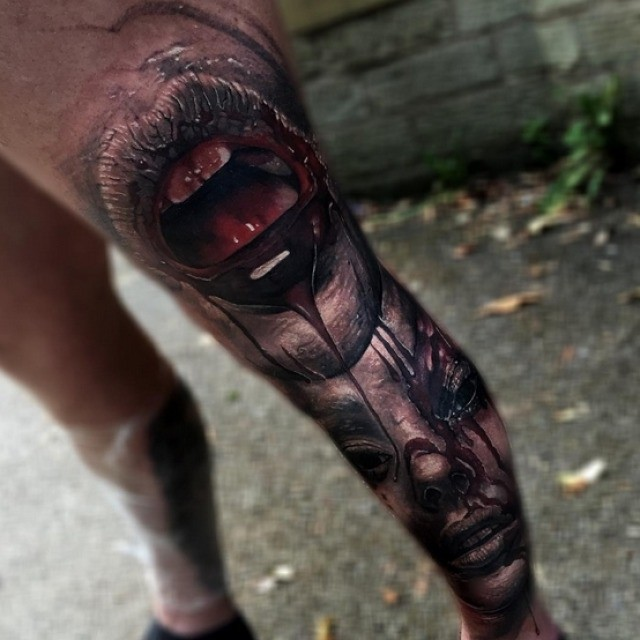 Bloody Mouth Tattoo on Leg