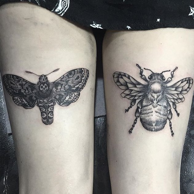Bug Tattoos on Thigh
