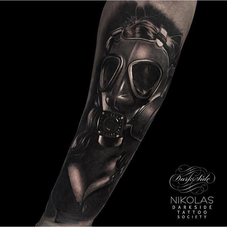 Dark Graphic Gas Mas Girl Tattoo