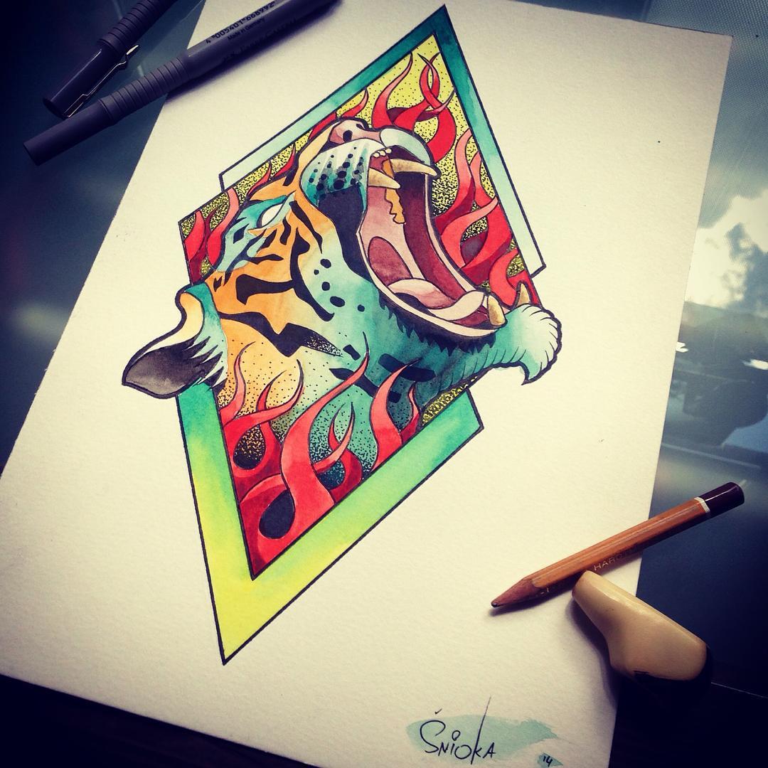 Fire Tiger Tattoo Design