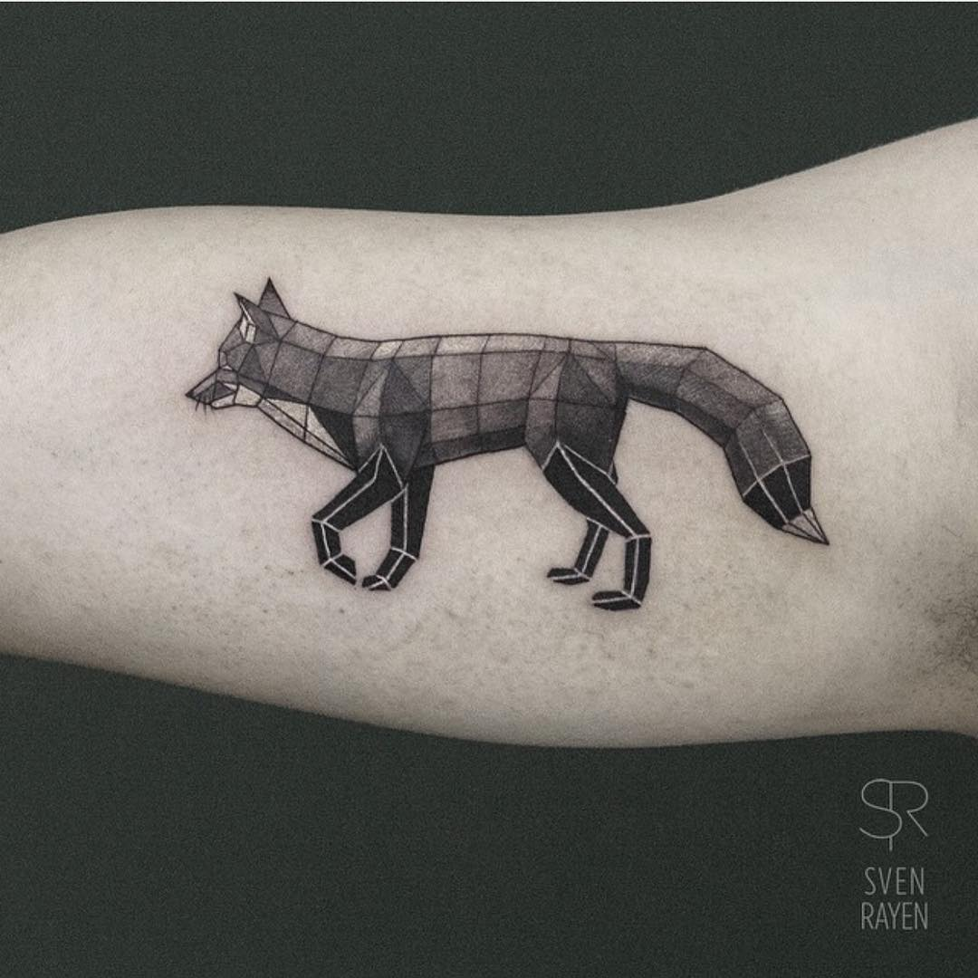 Fox Geometry Tattoo on Arm
