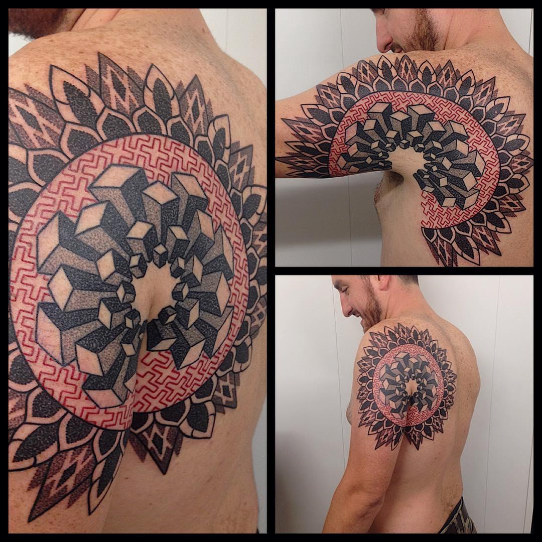 Geometry Mandala Back and Shoulder Tattoo