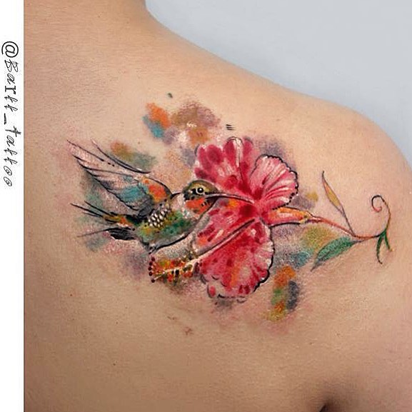 Hummingbird and Flower Tattoo