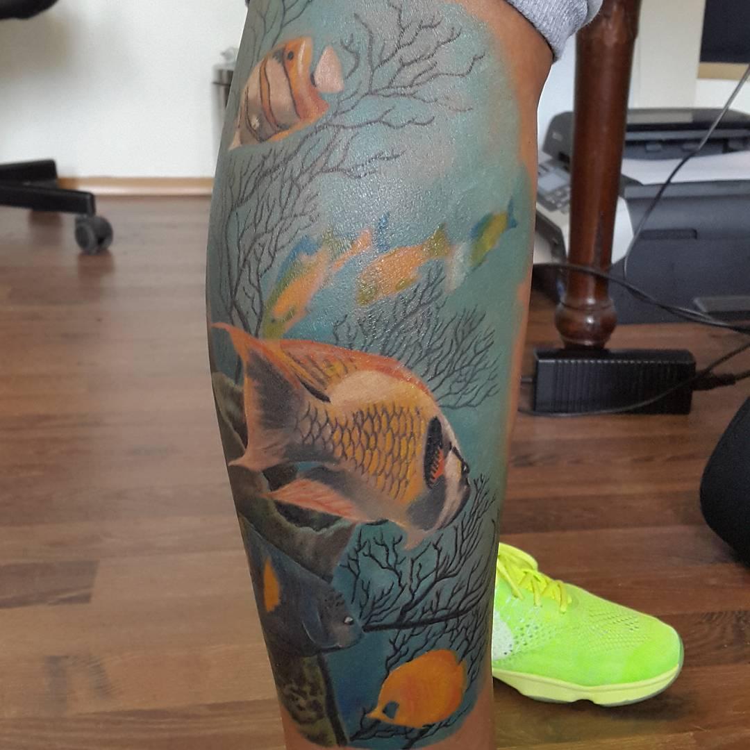 Sea Fishes Tattoo on Leg