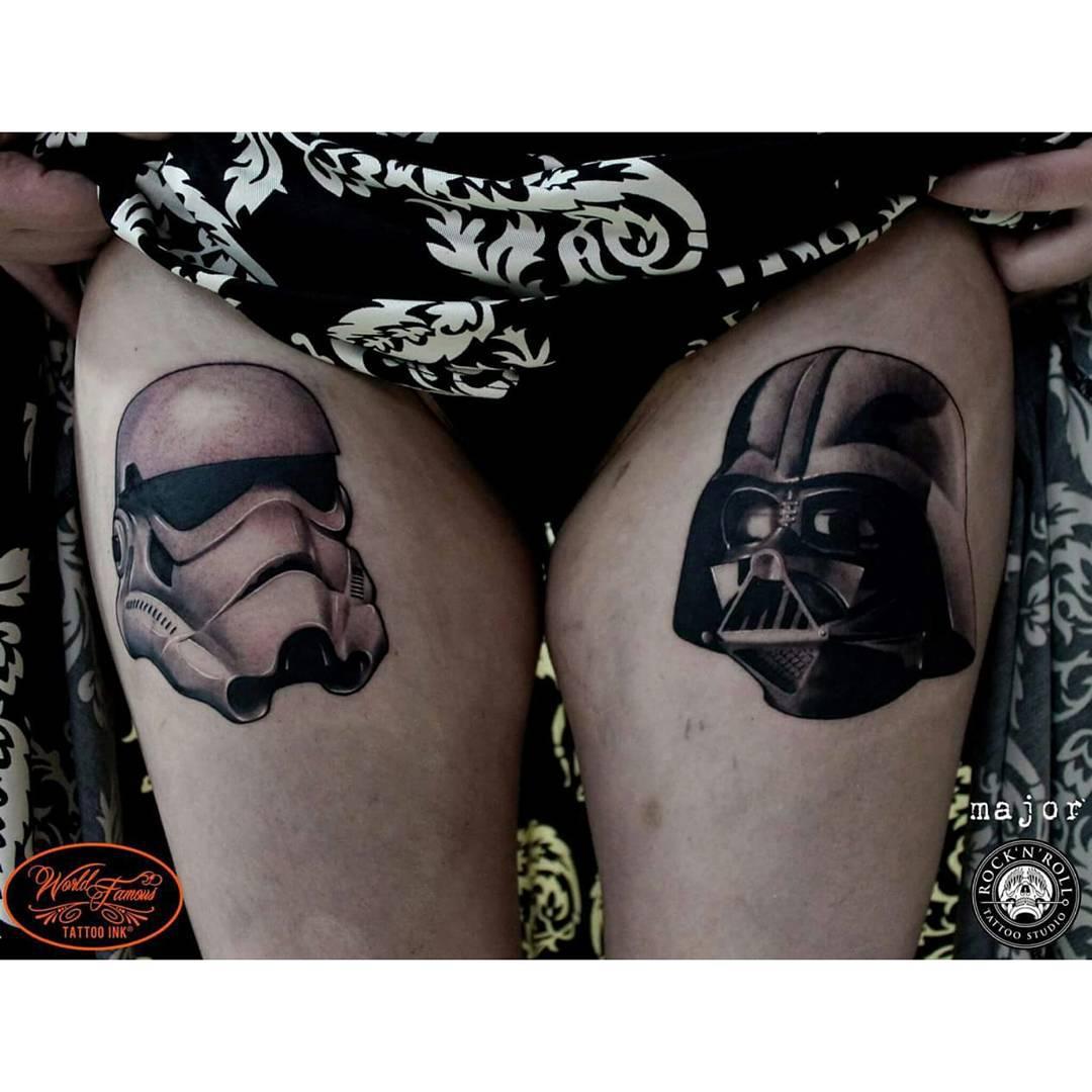 Thigh Trooper Darth Vader Tattoos