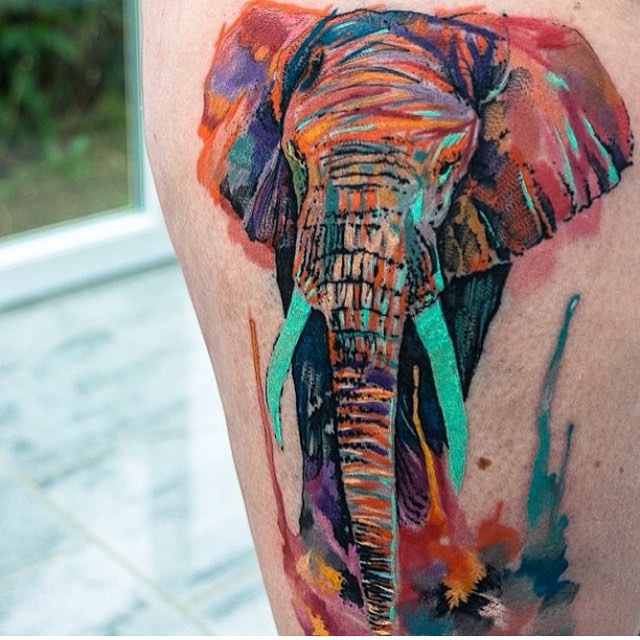Watercolor Colorful Elephant Tattoo