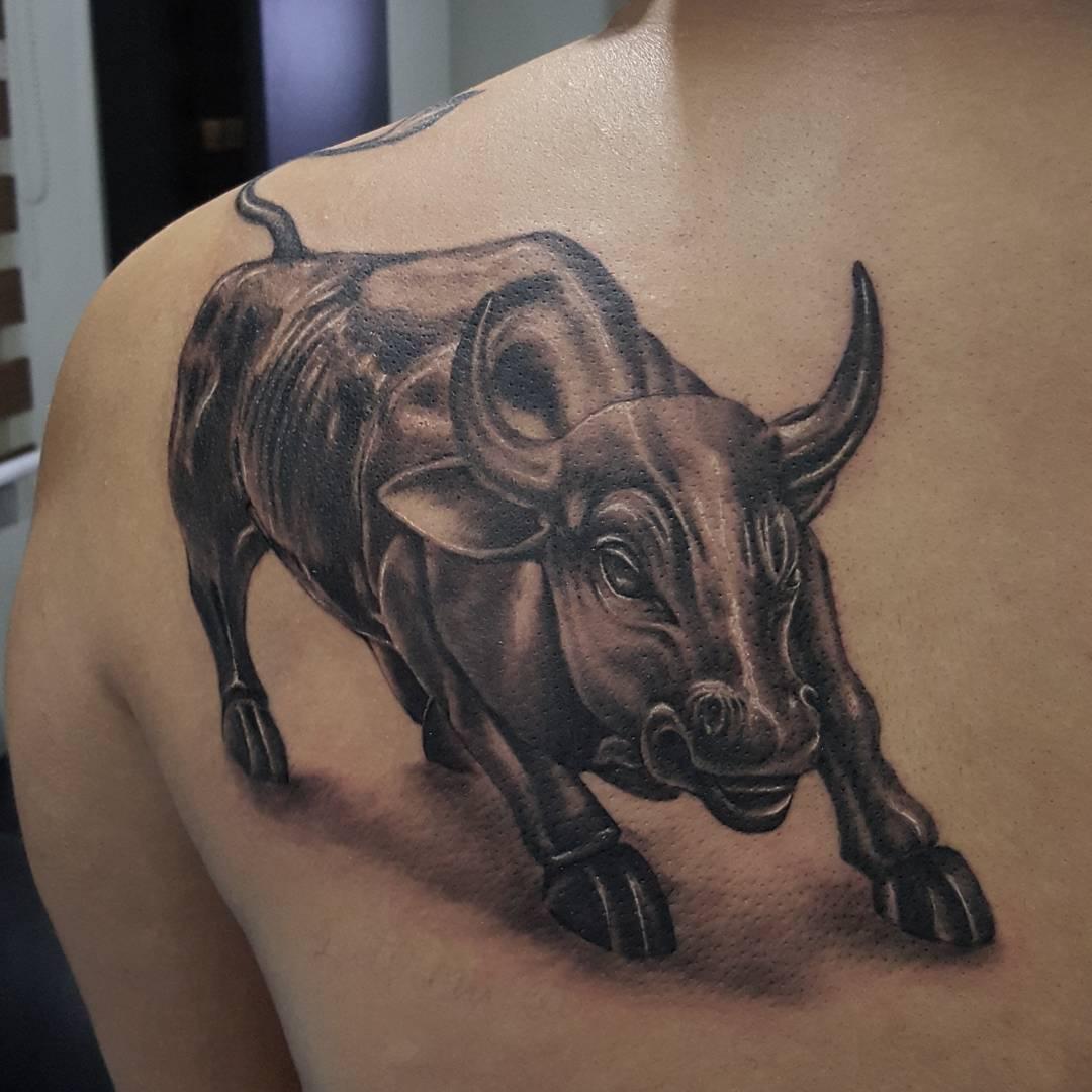 Bull Tattoo on Shoulder Blade