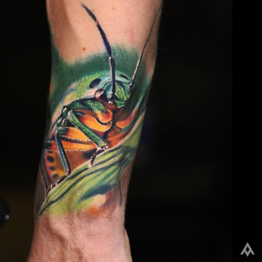 Close Up Grasshopper Tattoo