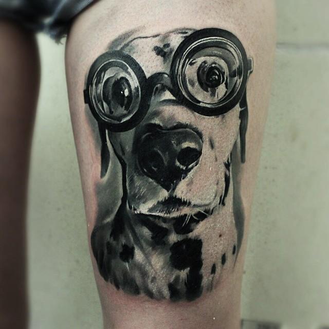 Cute Dog Tattoo on Thigh