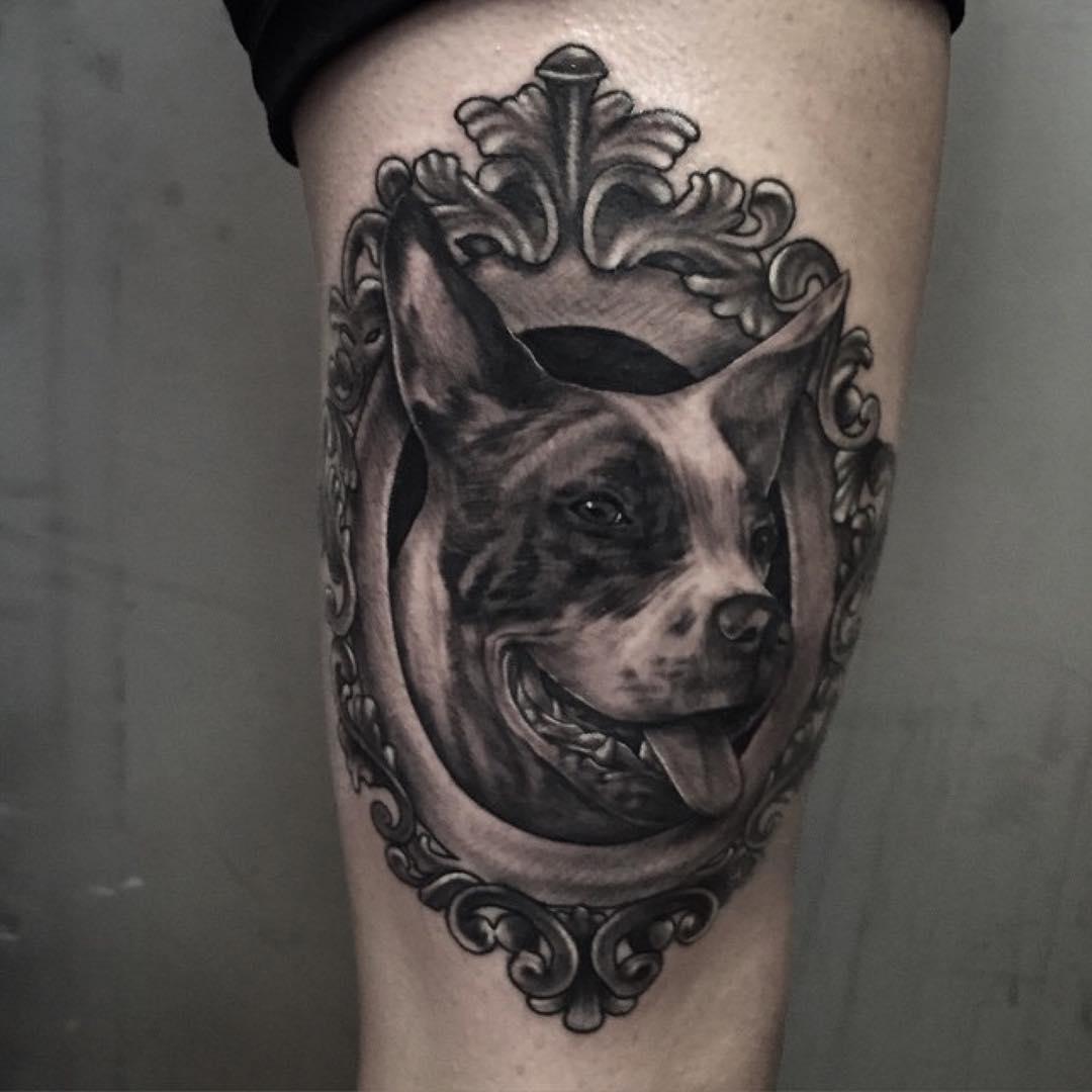 Framed Dog Tattoo on Thigh