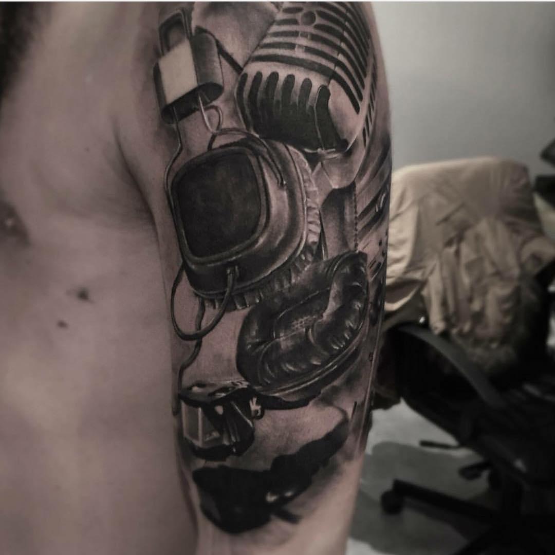 Graphic Headphones Tattoo on Shoulder