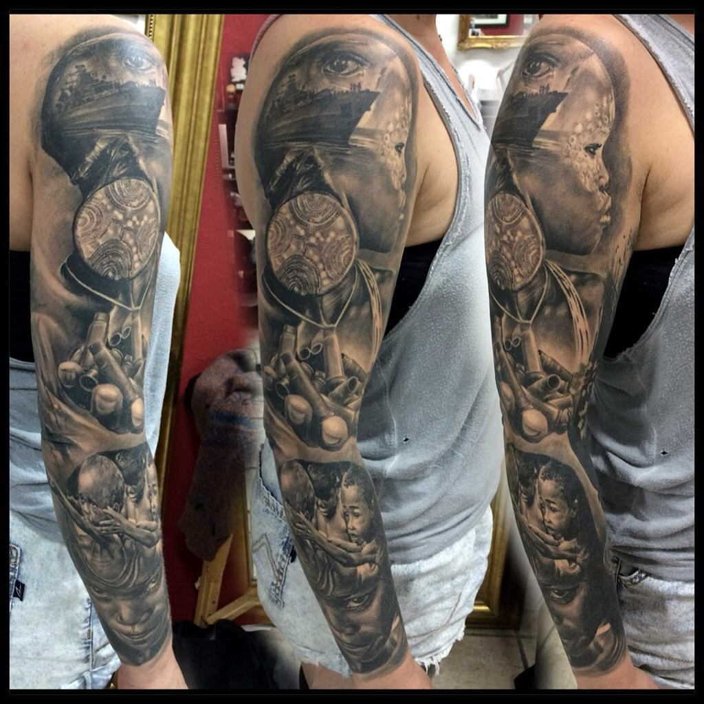 Graphic Slavery Tattoo Sleeve