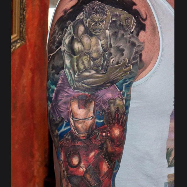 Iron Man and Hulk Shoulder Tattoo