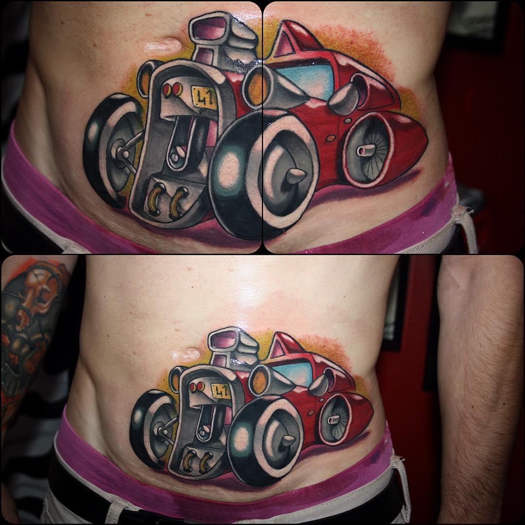 Racing Car New School Tattoo