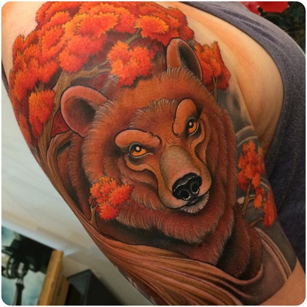 Red Bear Tattoo on Shoulder