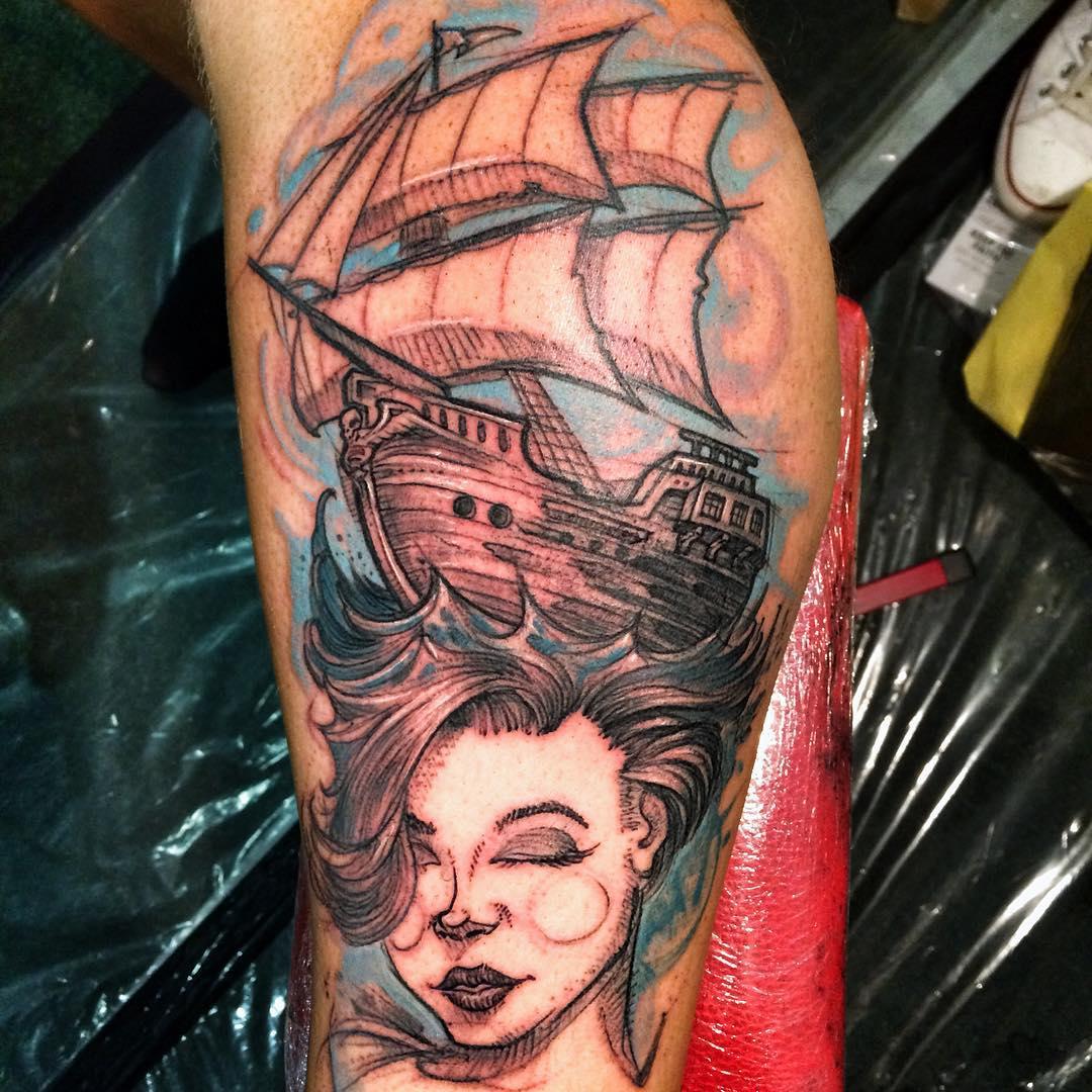 Ship on Girl Head Tattoo