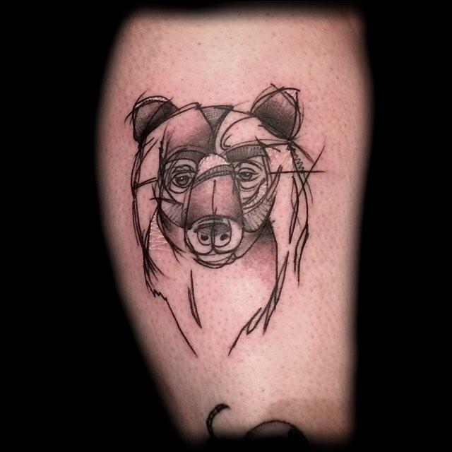 Sketchy Bear Head Tattoo