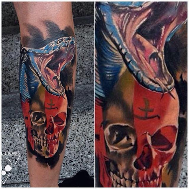 Snake and Skull Leg Tattoo