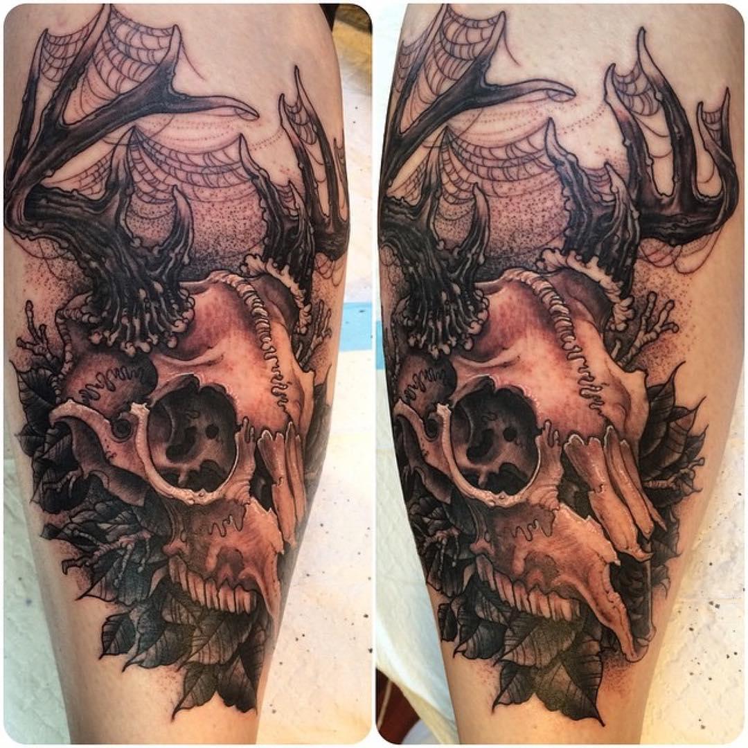Stag Skull Tattoo on Calf