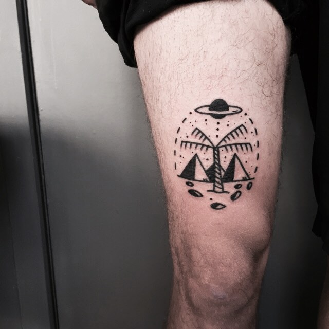 Thigh Pyramids Tattoo