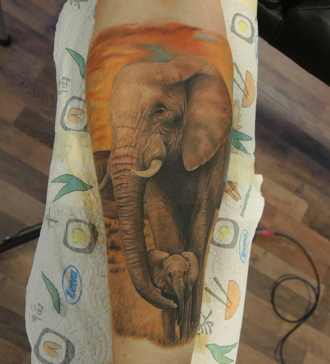 African Elephant Tattoo