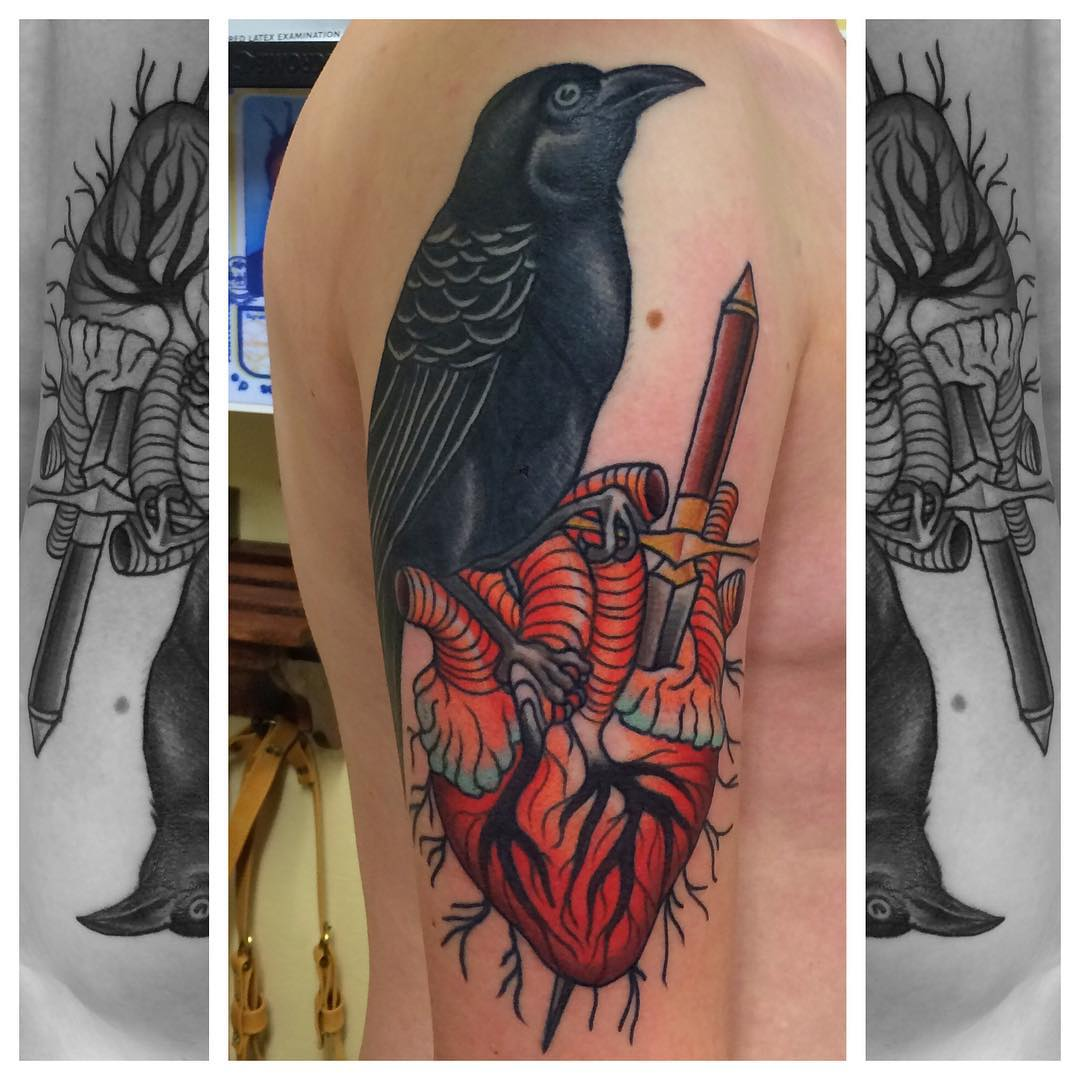Bird Heart Tattoo