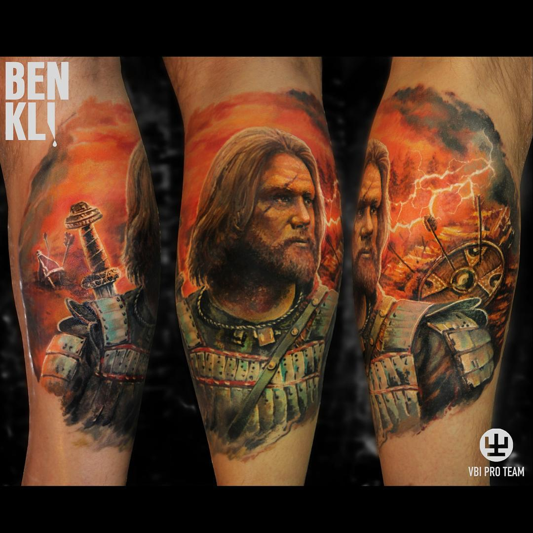 Fire Battle Warrior Tattoo