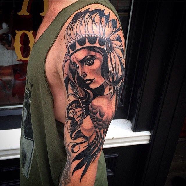 Shoulder Indian Girl Tattoo