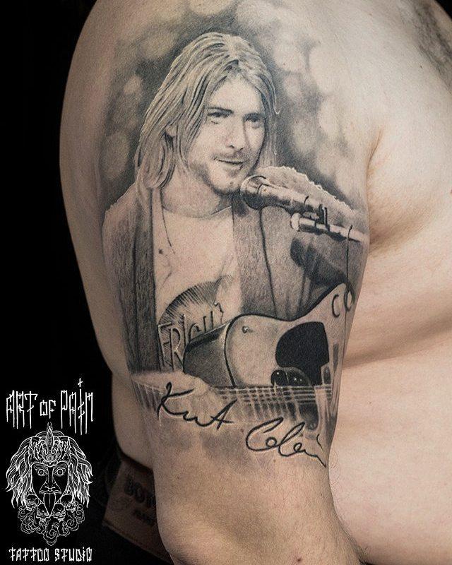 Shoulder Portrait Kurt Cobain Tattoo