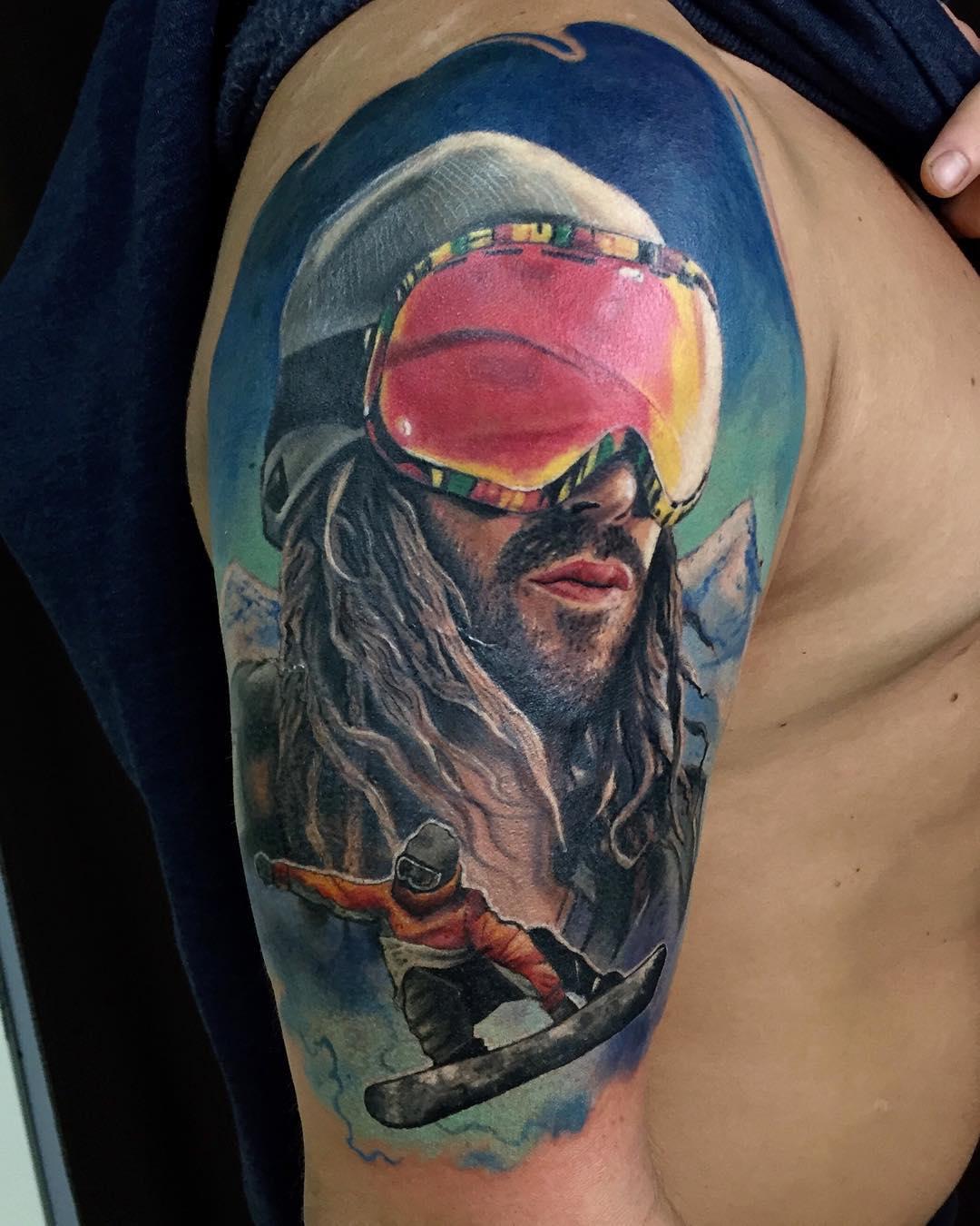 Snowboarder Tattoo on Shoulder