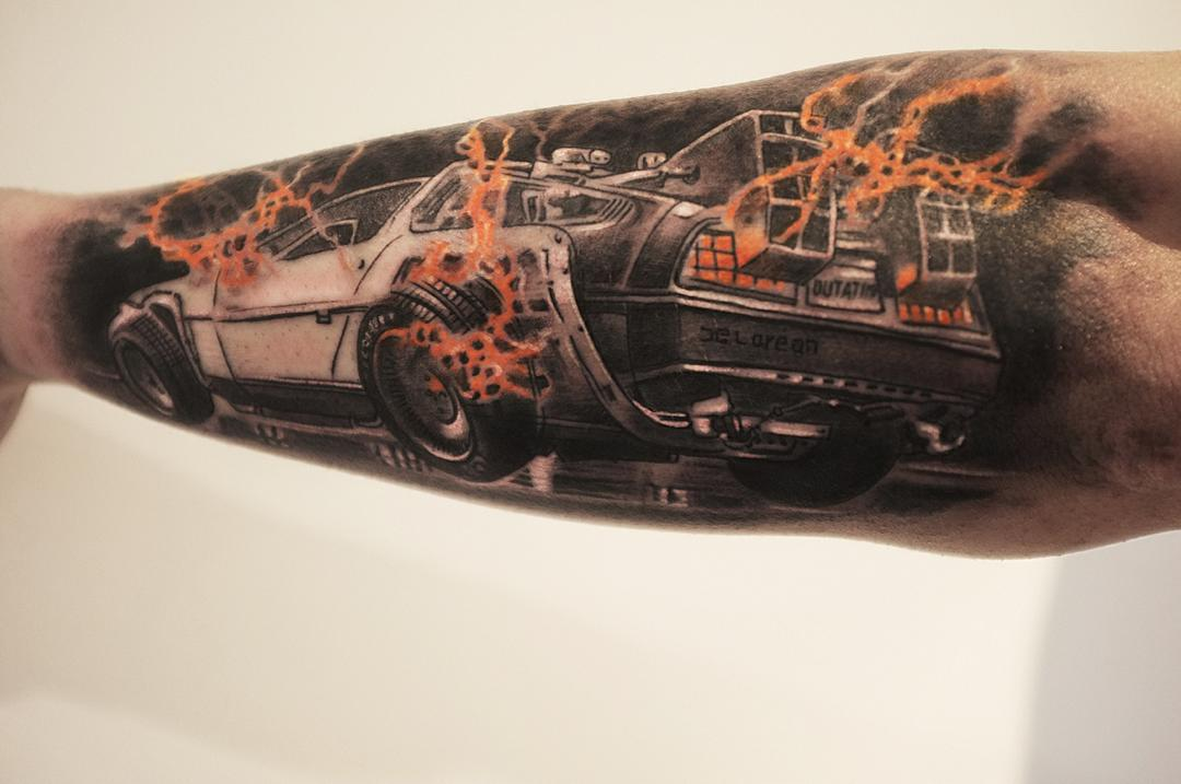 Back to The Future DeLorean Tattoo