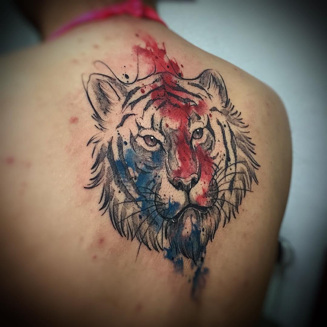 back watercolor tiger head tattoo