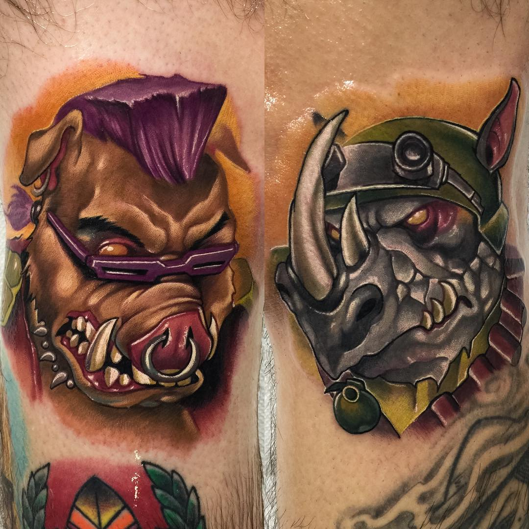 tattoos of TMNT Bebop and Rocksteady characters