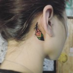 Feather Tattoo Behind Ear