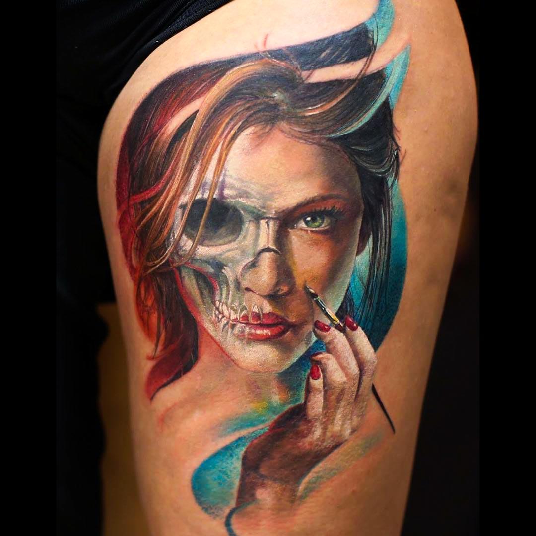 a realistic Half Skull Half Face Tattoo