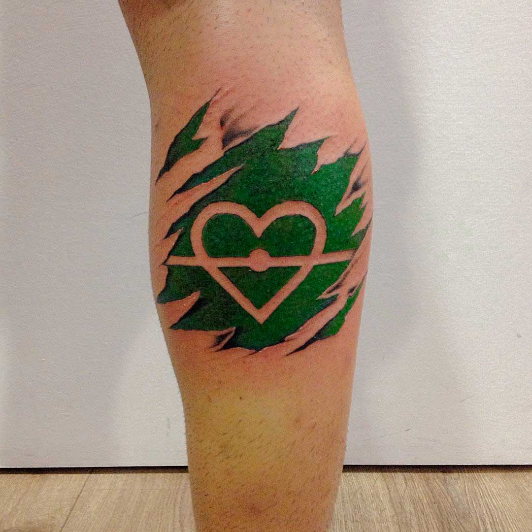 heart shaped soccer field lines tattoo on calf