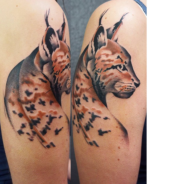 watercolor lynx tattoo