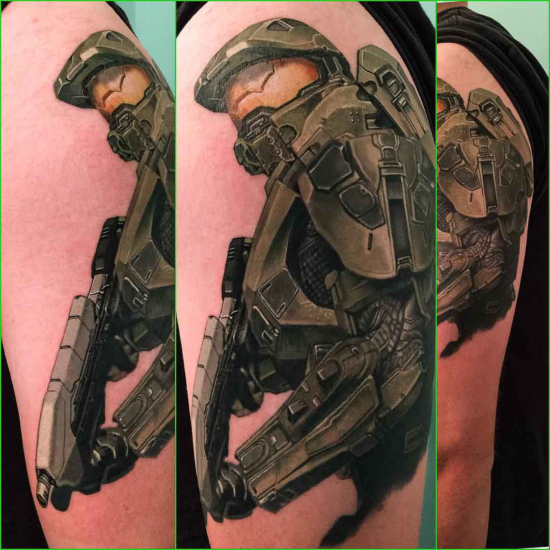 Halo Video Game Master Chief Tattoo
