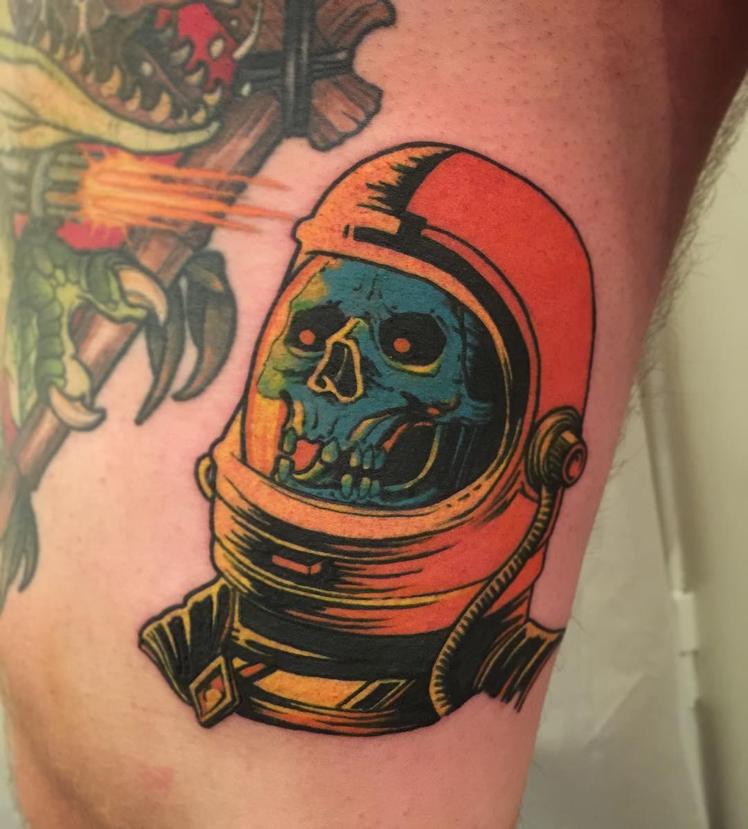 Skull Helmet Tattoo