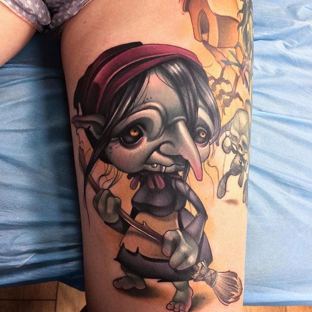 cute witch tattoo