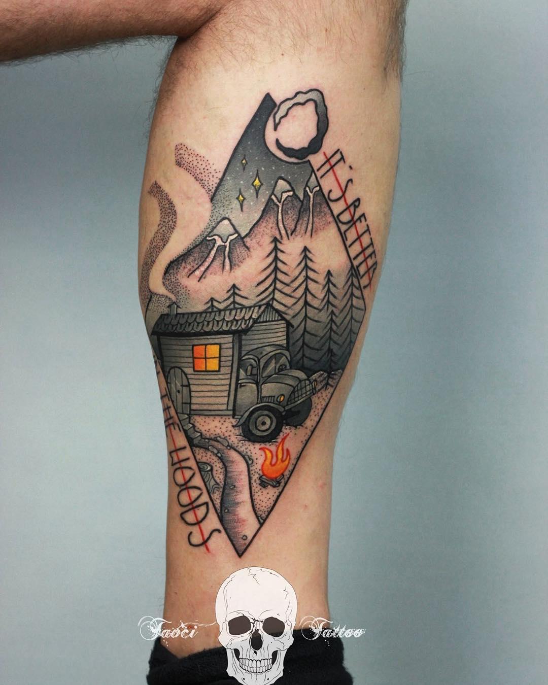 strange landscape of some hut in woods tattoo on leg