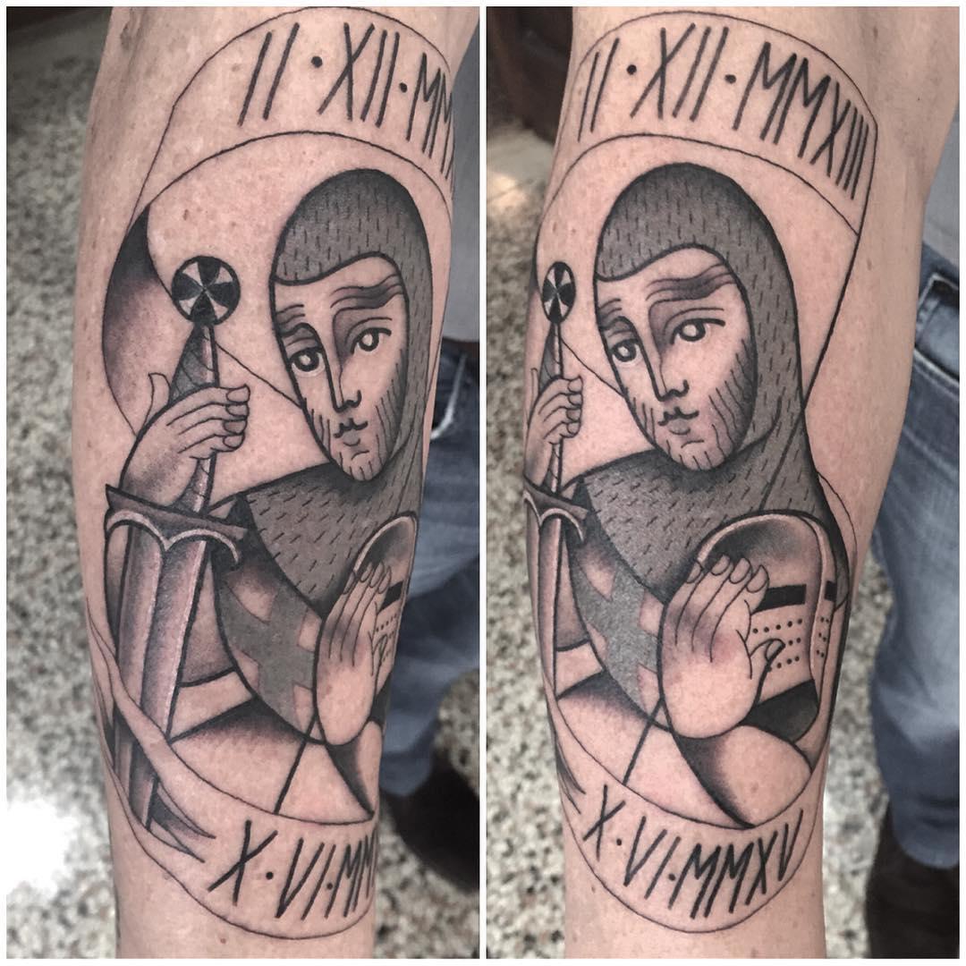 tattoo depicting medieval drawing of templar knight