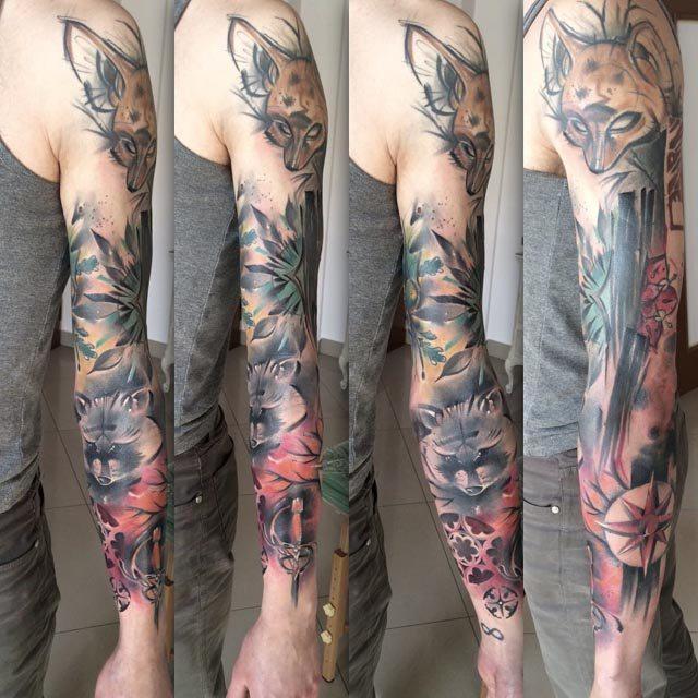 sleeve tattoo with animals