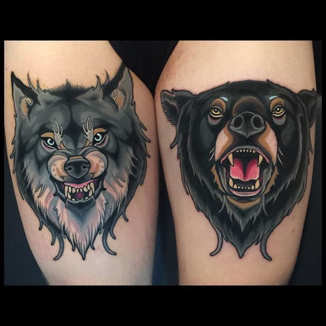 thigh bear and wolf tattoos