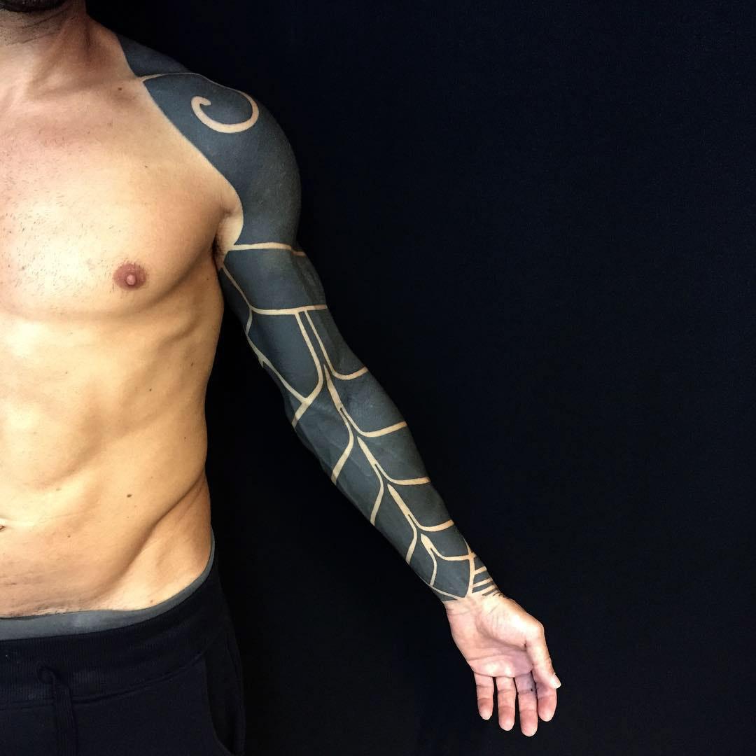 balckwork full sleeve tattoo