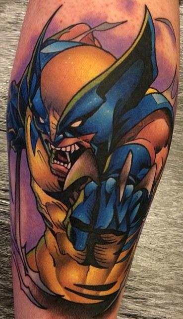 marvel wolverine tattoo on calf