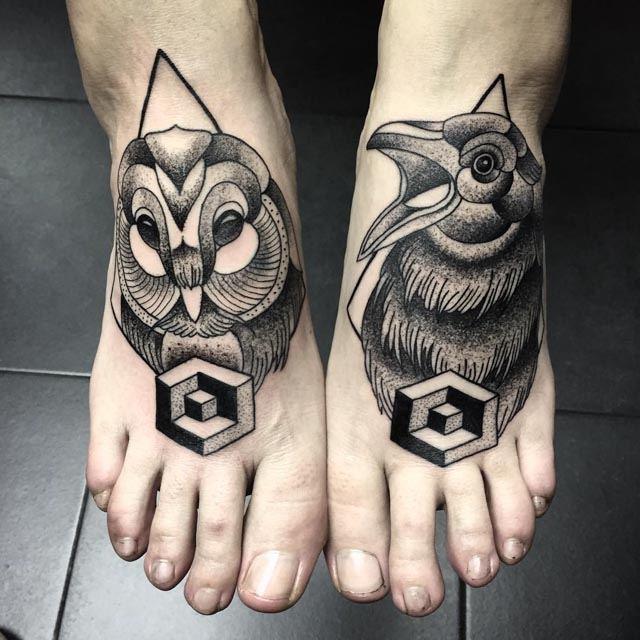 dotwork tattoos on feet